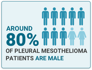 Illustration of eight to ten ratio of men to women with text fact that states 80% of Pleural Mesothelioma Patients are male