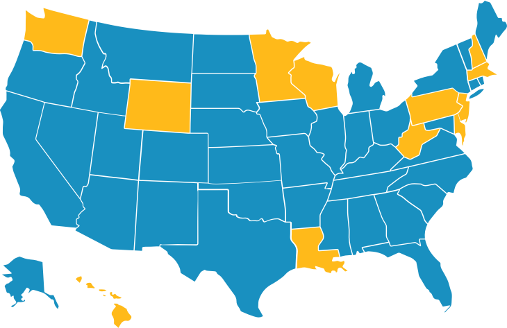 USA map with selected sites higlighted in yellow